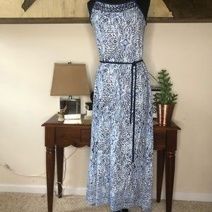 Lucky Brand belted maxi dress blue patterned